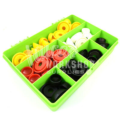 48 Assorted M10 Security Nut Cover Caps & Bases For Bolts White Black Red Yellow
