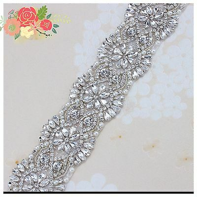 Gorgeous Bridal Wedding Dress Crystal Pearl Encrusted Sash Ivory Ribbon Belt