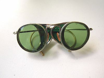 Vintage Green Tint Motorcycle Safety Sun Glasses Antique Goggles Ful-Vue 23