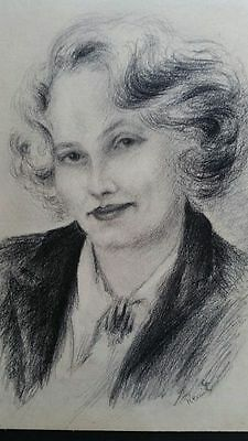 Early-mid 20thC graphite portrait of a smart lady, possibly French