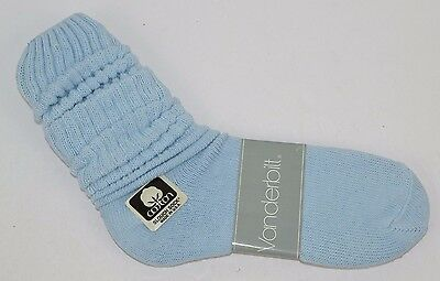 VINTAGE 1980's 1 Pair Cotton SLOUCH Baggy Socks Sky Blue - NEW OLD STOCK