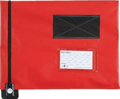 Go Secure Flat Mail Pouch with Window Heavy Duty Red | 286 x 336mm