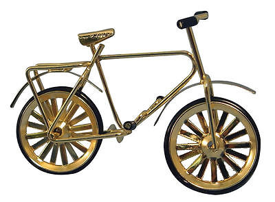 Small Childs Gold Bicycle, Doll House Miniature, 1.12th Scale, Bike