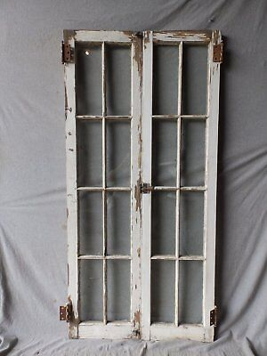 Pr Antique 8 Lite Casement Window Cabinet Cupboard Door Vtg Shabby 61x15 180-17P