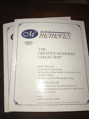 Lot Of 2 Creative Memories 8x10 Refill RCM-10R ruled pages 10 Pg/5 Sheets