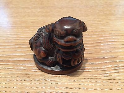 GENUINE ANTIQUE JAPANESE CARVED WOODEN NETSUKE WITH CAPTIVE BALL 17/18th CENTURY