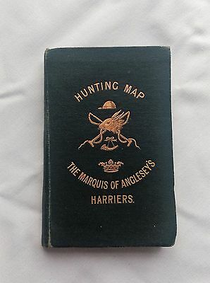ORIGINAL FOX HUNTING MAP THE MARQUIS OF ANGLESEY'S HARRIERS WALES (circa 1890s)