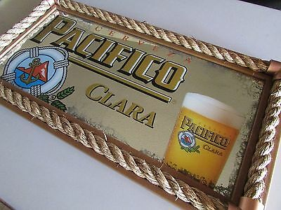 Cerveza Pacifico On Tap Beer Sign Mirror W/ Rope Boarder Clara Life Preserver