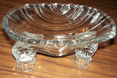 Heavy Vintage Double Clear Glass Candle Holders/Set of 2/No Breaks or Cracks
