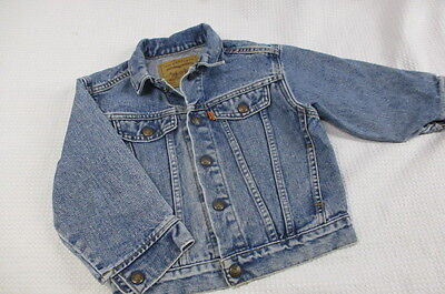 Vtg Little Levis Denim Jean Jacket Orange Tab Usa Made Snaps Sz 5 Kids Boys