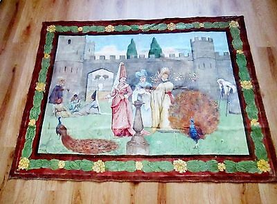 Antique Tapestry Painting On Canvas - Classical Castle Medieval Scene Circa 1920