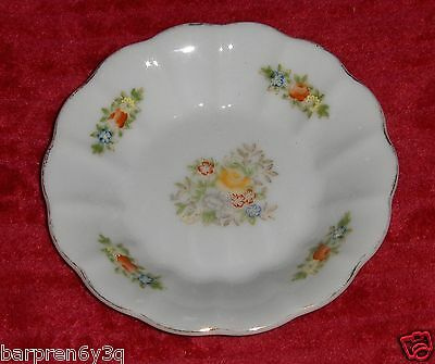 Vtg Pico Floral Dish Occupied Japan Red Blue Flower Jewelry Plate Scalloped Rim
