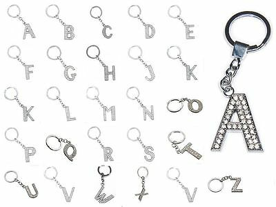 A-Z Alphabet LARGE LETTER KEYRING Initial Bling Name Key Ring Crystal Chain Gift