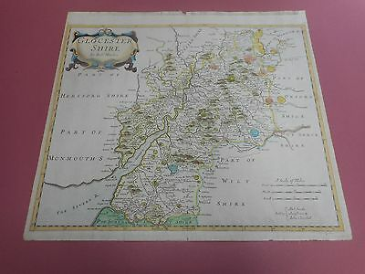100% Original Large Gloucestershire Map By Robert Morden C1695 Hand Coloured