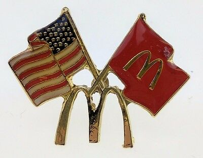 McDonald's American Flag Pin Stars Stripes Golden Arches Red Crossed Flags Crew