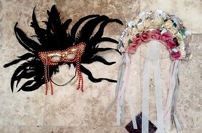 Vintage Hand Made Theatrical Headdress And Feathered Face Mask