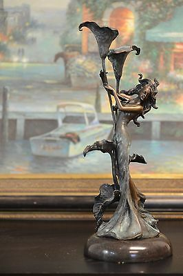 100% BRONZE STATUE ART NOUVEAU GIRL W/ LILY CANDLESTICKS HOLDER , SIGNED Milo