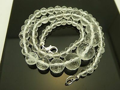 """Vintage Rock Crystal Faceted Round Gemstone Graduated Silver Necklace Sz.17"""""""