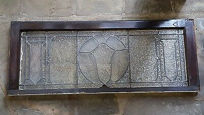 Very Nice Antique Privacy Leaded Glass Transom Window With Zero Cracks