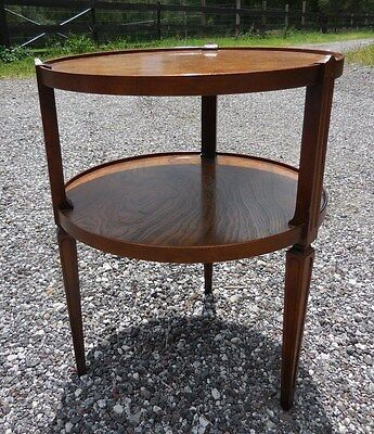 Vintage BAKER 2 Tier ROUND Burled WALNUT End TABLE Accent Light Stand