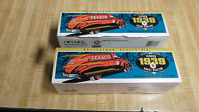 (2) Two Texaco 1939 Diecast Dodge Airflow Tanker Coin Bank New In Box