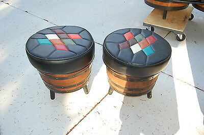 Mid Century Brothers Furniture Whiskey Barrel Pair of Ottoman Stools