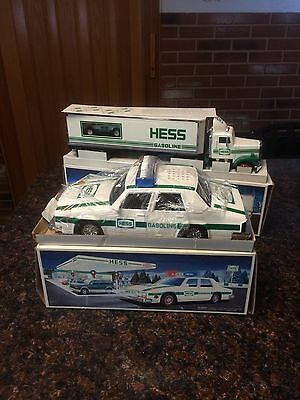 Lot Of 2 Hess Vehicles NIB, 18 Wheeler & Racer + Patrol Car 1992, 1993