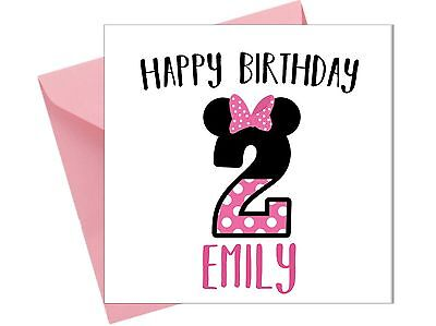 PERSONALISED MINNIE MOUSE MICKY 2ND BIRTHDAY CARD Girl Sister Grand Daughter JS