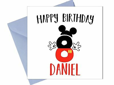 PERSONALISED MICKEY MOUSE 8TH BIRTHDAY CARD Eighth Boy Brother Son Grandson JR