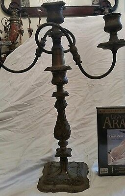 Pair  fantastic large Antique Candelabra 3 Arm Heavy Silver Plated Candlesticks