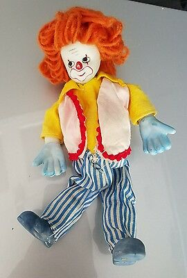 """VINTAGE CLOWN Doll figurine 8"""" collectible"""