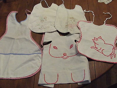 Lot Of 5 Vintage Embroidered Baby Bibs