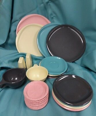 24 Piece Lot Of Vintage Boonton Ware Pink Coasters Plates Sandwich Dinner S & P