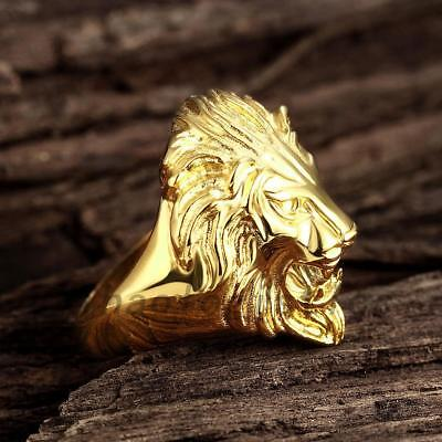 Retro Lion Head Rings Stainless Steel Gold Plated Size Mens' Ring 8-12