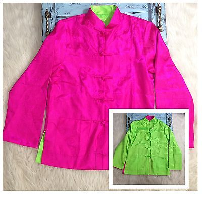 Womens Size M Chinese Satin Jacket REVERSIBLE Dress Coat Bright Pink Green Asian