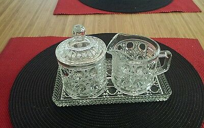 Vintage cut glass creamer and sugar bowl with tray