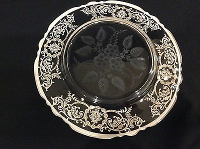 Antique Elegant Sterling Silver Overlay-Inlay Large Glass  Plate