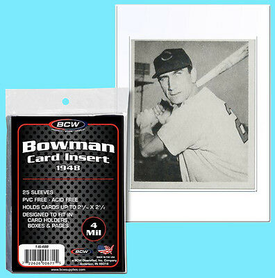 25 BCW 1948 BOWMAN CARD INSERT 4 MIL SOFT SLEEVES Clear Archival Poly Baseball