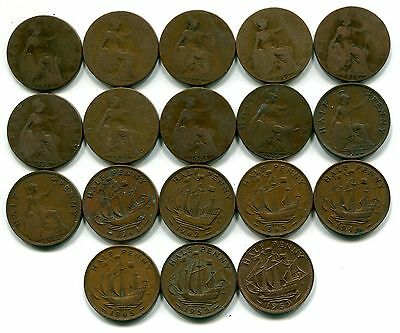 Great Britain, Lot of 18 Different Half Pennies 1912-1959 Circulated