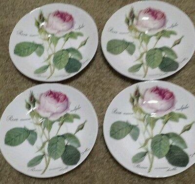 "4 (Four) Roy Kirkham 1996  ""redoute Roses"" Large 6 5/8"" Breakfast Saucers"