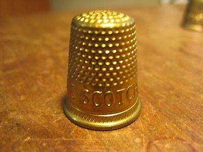 Vintage  Brass  Gold Thimble  Scotch Band Advertising  Design Sewing Old Antique