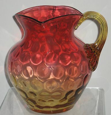 Antique Victorian Amberina Glass Pitcher Amber Reed Handle Inverted Thumbprint