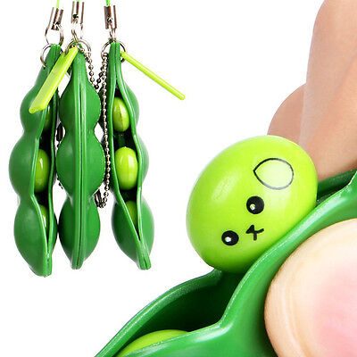 Extrusion Pea Bean Soybean Edamame Stress Relieve Toy Keychain Children Gift