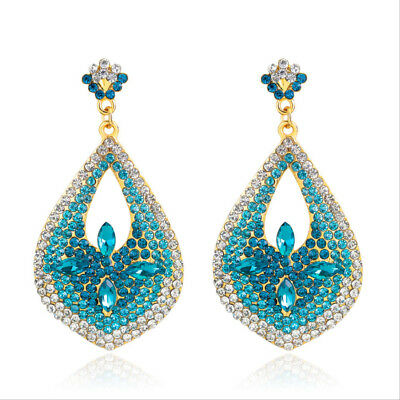 Lily Teal Austrian Rhinestone Crystal Dangle Drop Earrings Bridal Prom Party E18