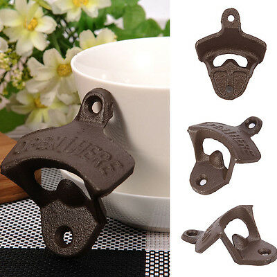 Metal Vintage Antique Style Bar Pub Beer Soda Top Bottle Opener Wall Mount Brown