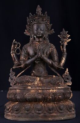 Very Large Amazing Rare Old Chinese Bronze Buddha Seated Statue Sculpture AB043