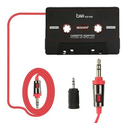Vehicle Cassette Tape Adapter Audio AUX Converter 3.5 MM MP3 Player Black