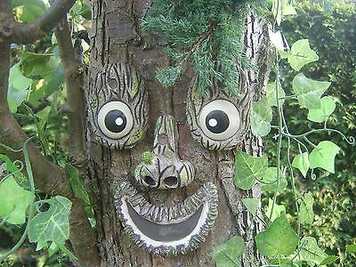 Smiling Tree Face garden ornaments statues, sculptures.  tree art. Gifts