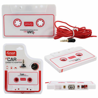 Car Stereo Cassette Tape Adapter For Phone iPod Travel White with Microphone