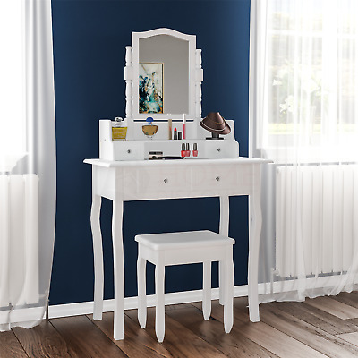 Nishano Dressing Table 4 Drawer Stool White Mirror Bedroom Makeup Desk Dresser